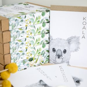 Australian animal notecards on recycled card